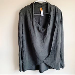 Lucy Sweaters - Lucy Gray Draped Cross Front a Long Sleeve Sweater